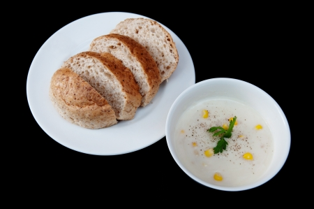 Bread on a white plate.