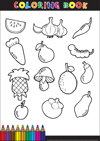 apples and oranges: Set of Fruit doodle drawings vector
