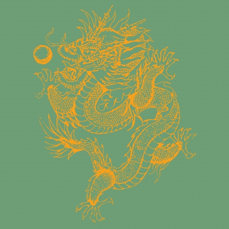 coiled: Golden dragon isolated on a green background.eps10