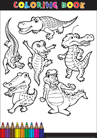 Cartoon crocodile for coloring book illustrations children. Stock Vector - 22712039