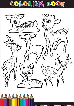 spitz: Coloring books or coloring page cartoon illustration black and white of a deer.