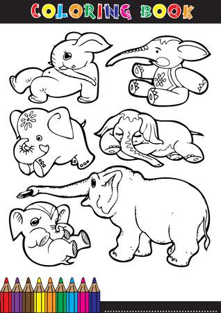 g�n�alogie: Livres � colorier ou page de coloration noir et blanc des illustrations dessin�es d'�l�phants. Illustration