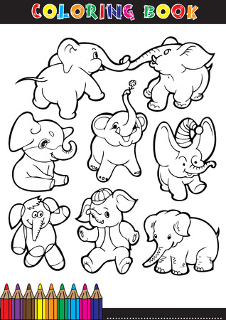 Coloring books or coloring page black and white comic illustrations of elephants. Vector
