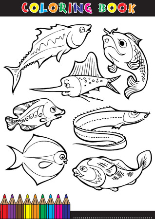 Coloring books or coloring page cartoon illustration of a black and white fish.