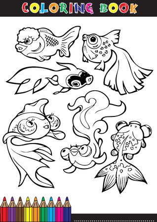 Coloring books or coloring page cartoon illustration of a black and white fish. Vector