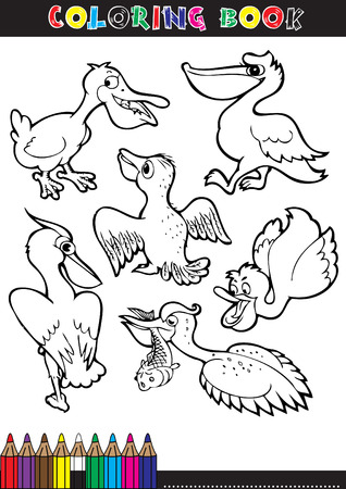 Coloring books or coloring pages black and white cartoon illustration of a stork. Vector