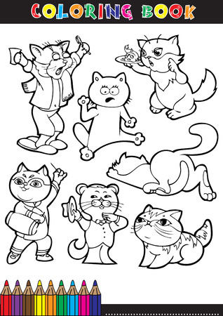 mouser: Coloring books or coloring pages black and white cartoon illustration of a cat in various positions