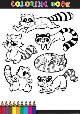 Coloring page or color comics black and white Raccoons.