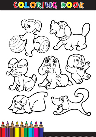 Coloring Book or Coloring Page Black and White Cartoon Illustration of Funny Purebred or Mongrel Dogs Vector