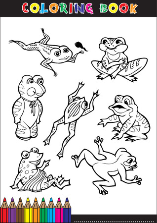 Coloring books or coloring page black and white illustration, cartoon frogs for kids. Vector