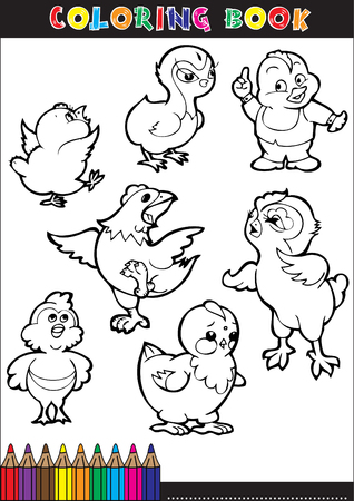 Cartoon coloring book illustrations. Series for young chicks. Vector