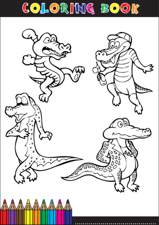 Cartoon crocodile for coloring book illustrations children. Vector