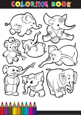Kleurboeken of kleurplaat zwart en wit komische illustraties van olifanten.