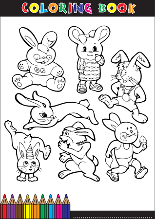 Coloring book for children, rabbit, cartoons or illustrations. Vector