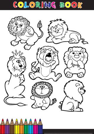 Coloring books or coloring pages black and white cartoon of a lion. Vector