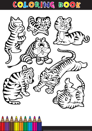 Cartoon Humorous Illustration of Cute Little Tiger for Coloring Book Vector