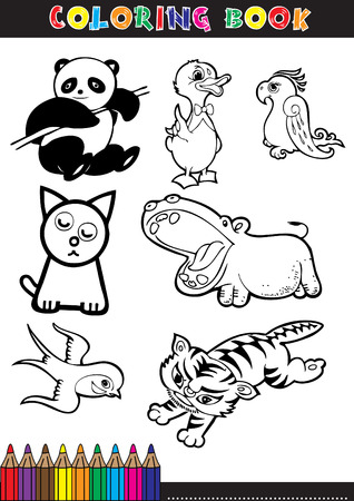 Coloring books or coloring pages black and white cartoon of a cute animal. Vector
