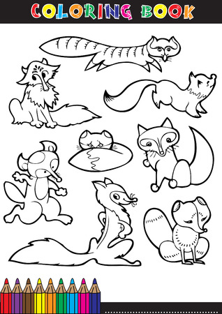 Black and White Cartoon Vector Illustration of Funny Wild Fox Animal for Coloring Book Vector