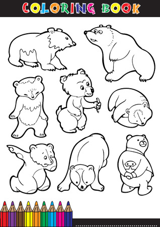 Coloring Book or Page Cartoon Illustration of Funny Bears for Children Vector