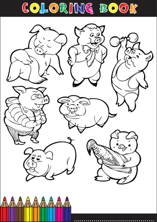 Coloring books or coloring pages black and white cartoon of a pig. Vector