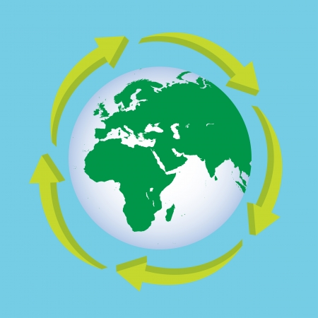 planisphere: Icon Planet Earth Arrow.eps10
