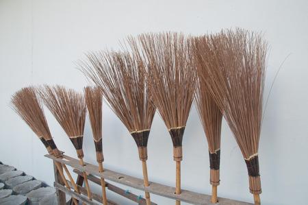 brushwood: Straw broomstick, midrib of coconut texture Stock Photo