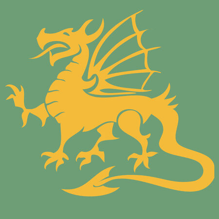 Golden dragon isolated on a green background.