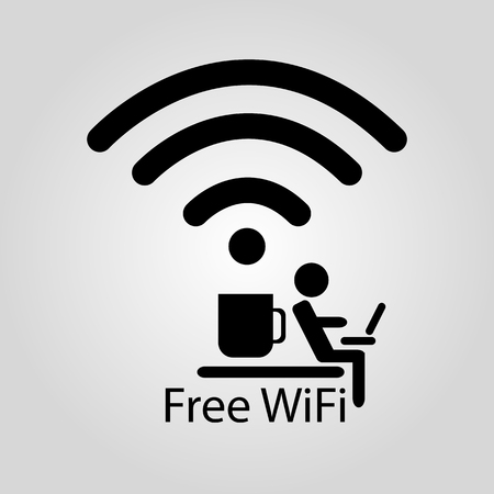 Free Zone Wi-Fi icon in the coffee shop. Vector