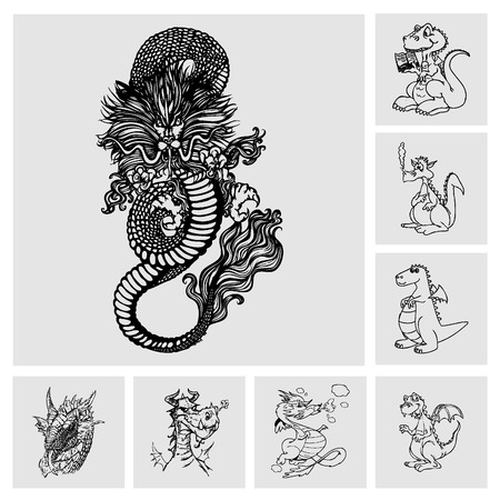 classical mythology character: dragons set Illustration