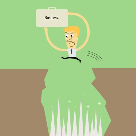 Businessman jumping a gap between cliffs Vector