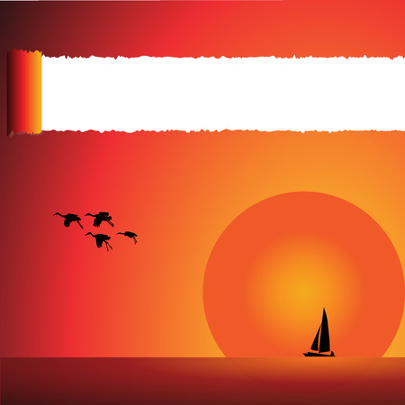 tore: Sunset over the surface of the water with a small ship birds., And tore the paper.