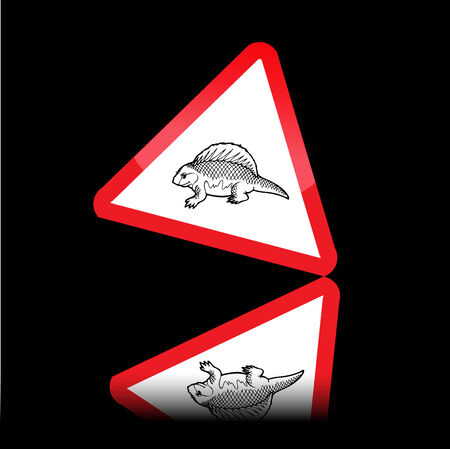 symbol vigilance: Dinosaur danger signs Illustration