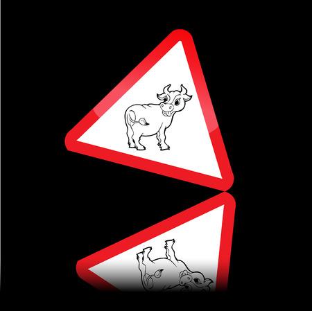 panneaux danger: Signes vache de danger