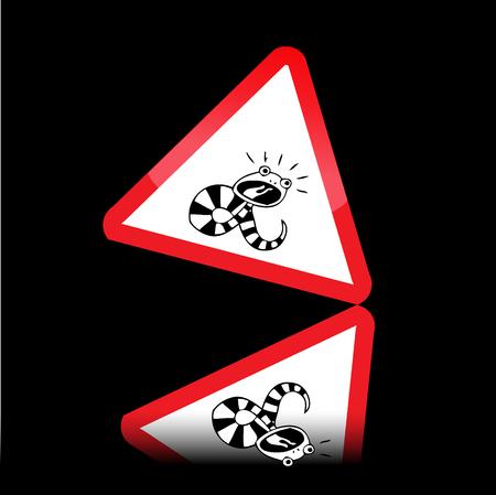 panneaux danger: Serpent signes de danger