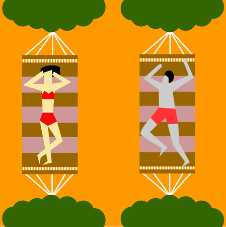 Ladies and men lying in a hammock on the beach in the summer. Vector