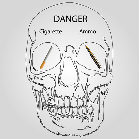 crossed cigarette: Smoking skull with a bullet in the eye. Illustration
