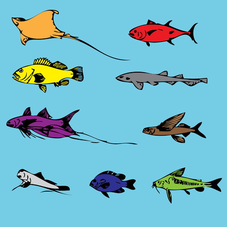 Vector set fish sea. Vector