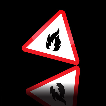 Hazard warning triangle highly flammable warning sign. Vector