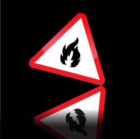 Hazard warning triangle highly flammable warning sign.