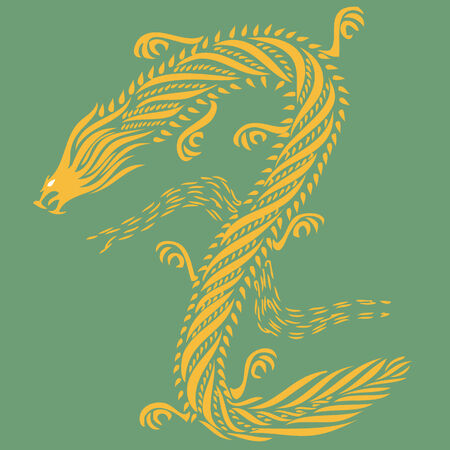 twists: Golden dragon isolated on a green background.