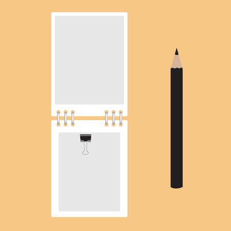 Notebook and pencil black. Vector