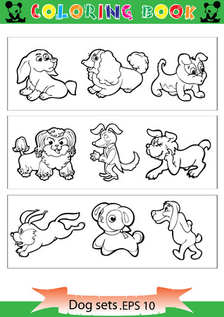 Collection of cartoon funny vector silhouettes only the coloring book. Illustration