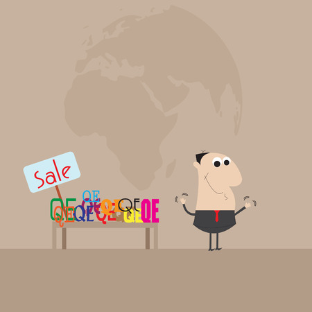 Businessman selling measures QE  Cartoon vector Ilustração
