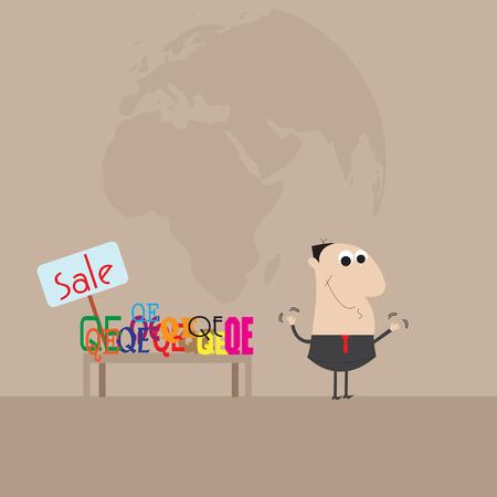 Medidas del hombre de negocios la venta de QE Cartoon vector Foto de archivo - 27714754