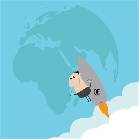 Man standing on QE measures bomb vector cartoon Ilustração