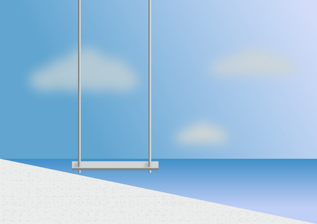 Wooden Swing & Hang Chair - Beach lounge Sea View from Balcony  3D render image Stock Photo