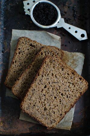 caraway: Swedish rye bread with caraway seeds, flax seeds and coffee - homemade bread
