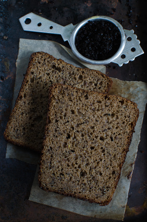 homemade bread: Swedish rye bread with caraway seeds, flax seeds and coffee - homemade bread