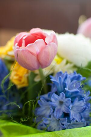 hyacinths: bouquet of tulips, roses, carnations, hyacinths Stock Photo