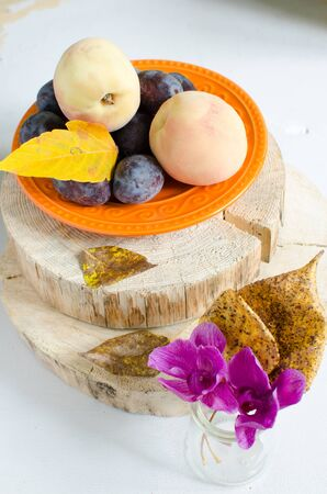 purple leaf plum: Autumn composition - peaches and plums